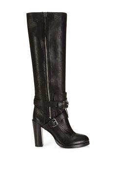 Rebecca Minkoff - Billie Boot - Made from soft leather with a daring exposed side zipper, these expertly crafted knee-high boots are all about attitude. Overlapping buckles complete the look.   Please note this item is on preorder and will be available to ship on or before September 1st, 2015