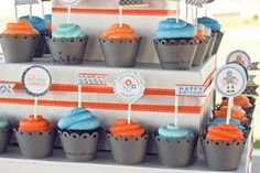 robot party cupcake toppers