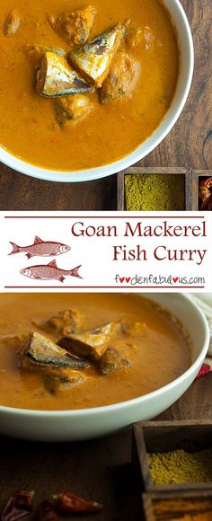 Goan Mackerel Fish Curry Recipe- a classic goan curry that is the centre of ever. Goan Mackerel Fish Curry Recipe- a classic goan curry that is the centre of every Goan staple meal. Indian Prawn Recipes, Goan Recipes, Curry Recipes, Seafood Recipes, Drink Recipes, Whole30 Recipes, Veg Recipes, Cooking Recipes