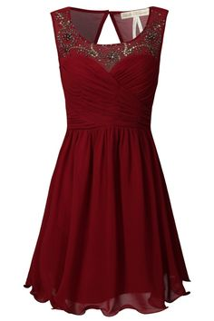 Dark red/draping/beadwork/circle skirt/sweetheart/open back