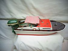 Vintage Toy Model Boat with battery operated all metal Johnson Motor