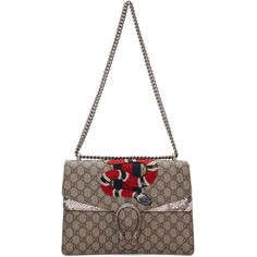 Gucci Brown Large Dionysus Bag (48.710.110 IDR) ❤ liked on Polyvore featuring bags, handbags, brown, leather flap handbags, brown leather purse, leather purses, white leather purse and brown leather shoulder bag