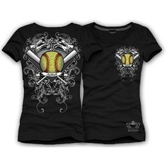 """Black S/S Peace, Love, SOFTBALL T-Shirt       Brand new Spring Design!     Show support for your favorite teams     """"Peace, Love, SOFTBALL""""     Round Neck     Shortsleeve fitted cotton lycra t-shirt     Yellow Softball design on front & back with rhinestones     MADE IN THE USA     Katydid Collection"""
