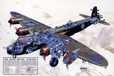 """The Giant British """"Stirling."""" This cutaway poster partially reads, """"Weighing over thirty tons, the huge Short 'Stirling' bomber is nightly battering the war industries of Nazi Germany."""" Circa 1945. Gr"""