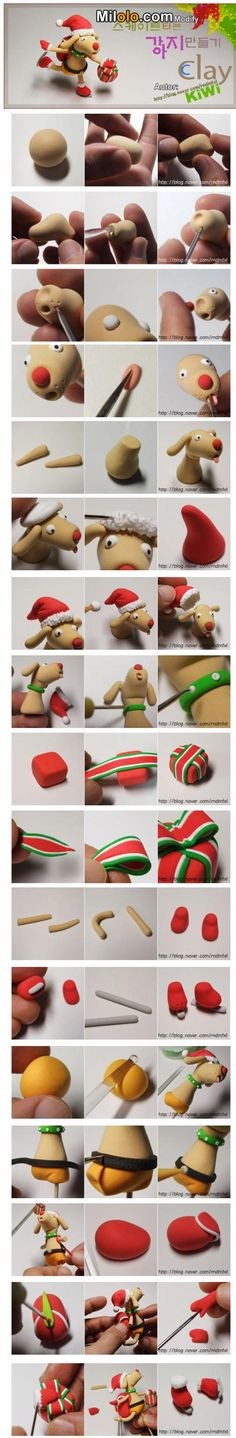 DIY fimo / clay / fondant reindeer  #howto #tutorial #diy #fimo #clay #fondant #reindeer #christmas