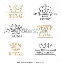 Crown logo set. Luxury crown in trendy line style. Vector illustration for hotel, restaurant, boutique, invitation, jewellery, etc.