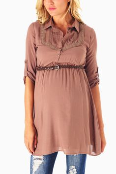 Mocha-Button-Up-Belted-3/4-Sleeve-Maternity-Top #maternity #fashion #cutematernityclothing #cutematernitytops #falloutfits #falltrends