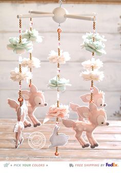 Fawn Baby Mobile 100 Swarovski Crystals Deer by LollyCloth