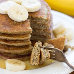 These Banana Oatmeal Pancakes are light, naturally sweet and made in a blender! (gluten-free and dairy-free)
