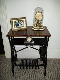 Table made from antique sewing machine stand