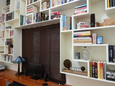 "Tetris Book Shelves: Built with 1/2"" thick birch plywood."