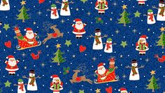 Fat Quarter Metallic Christmas Scenic Blue Cotton Quilting Fabric Makower 1508 B by Petestreasuretrove on Etsy