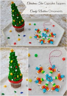 Tuesday Tutorial - Christmas Tree Cupcake Toppers + Candy Bracelet Ornaments | Not Just A Mommy