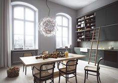 The Lyceum Stockholm apartment development is the latest project by Oscar Properties that sees an old building repurposed into modern day designer living. Apartment Design, Apartment Living, Kitchen Interior, Kitchen Design, Room Interior, Oscar Properties, Couch Magazin, Dark Grey Kitchen, Green Kitchen