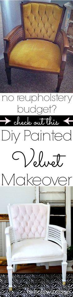 DIY painted velvet upholstery furniture makeover
