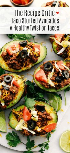 Eating Meals Plan Taco Stuffed Avocados is cooked flavorful ground beef stuffed in a ripe avocado loaded with chopped tomatoes, sliced olives, shredded lettuce and sprinkled cheese. A healthy twist on tacos! Mexican Food Recipes, Beef Recipes, Dinner Recipes, Cooking Recipes, Healthy Recipes, Cocktail Recipes, Drink Recipes, Easy Recipes, Clean Eating