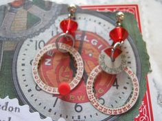 Steampunk Red Compass Earrings by jansbeads on Etsy