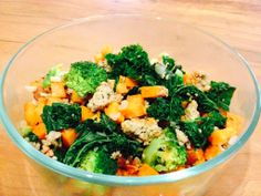 Ground Chicken Thighs with Steamed Kale, Broccoli, Garlic & Onion.  With Ghee Roasted Sweet potato & Hot Sauce  See Full Recipe Here: https://morrisbrossette.logicnation.com