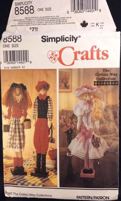 """Simplicity Dolls The Cotton Way Collection 22"""" Dowel 3 Patterns Uncut FF 8588 