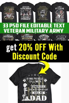 Military Veterans, Military Army, T Shirt Design Template, 20 Off, Jpg File, Coupon Codes, Design Bundles, Funny Tshirts, Shirt Designs