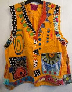Marigold Cotton Upcycled Hand Painted artist vest fits thru Elektroniken Artist Cotton fits hand Marigold Painted upcycled Vest Funky Outfits, Cool Outfits, Painted Clothes, Altering Clothes, How To Make Clothes, Mode Inspiration, Sewing Clothes, Refashion, Look Fashion