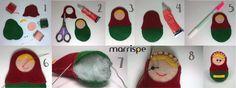 Passo-a-passo matrioska de feltro #artesanato #decor #decoração #mimos #feltro #boneca #matrioska #costura #passoapasso #diy #marrispe