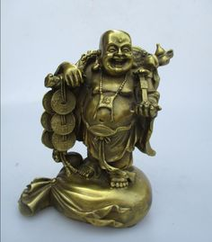 High: 17CM!!! Art Collection Home Decorated Brass Carved Lucky Money Buddha Statue/Home Feng Shui Bag Monk Sculpture