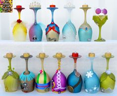 PRINCESS WINE GLASS CANDLE HOLDERS