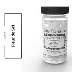 Fleur De Sel - 90 Gram Glass Salt Shaker - https://saltsworldwide.com/buy/fleur-de-sel-salt-shaker/  #food