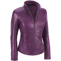 Web Buster Center Zip Leather Scuba w/Stitching Detail ($140) ❤ liked on Polyvore featuring outerwear, jackets, leather jacket, wilsons leather, wilson leather jacket, purple jacket and real leather jacket