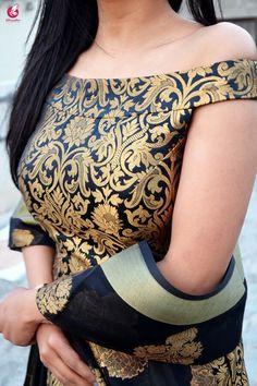 Best 10 Buy Black Brocade Padded off Shoulder Kurta Online in India Lengha Blouse Designs, Kurta Designs Women, Fancy Blouse Designs, Kurti Designs Party Wear, Blouse Neck Designs, Designer Kurtis, New Designer Dresses, Sari Design, Off Shoulder Saree Blouse