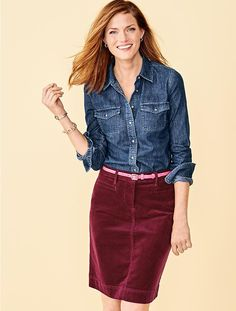 I might have to get this skirt - I think this is the vintage raspberry.  Its awesome with dark denim shirt.   Might love it with gray tunic too.  Cord Skirt - Talbots