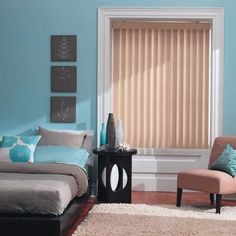 Bali Essentials Vinyl Vertical Blinds: For a more economic alternative, the Bali Essentials Vertical blinds offer a simple choice when making a decision for your desired look. With eight available styles including embossed and textured vanes, you will be able to add style and dimension to your room at an economical price.
