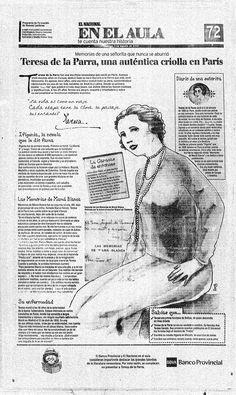 Teresa de la Parra. Publicado por El Nacional el 03 de agosto del 2001