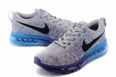 premium selection a05dc 26f5a Nike Flyknit Air Max Homme Chaussures Gris Bleu Ciel