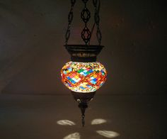 Moroccan lantern mosaic hanging lamp glass chandelier light lampen candle t 010  #Handmade #Moroccan