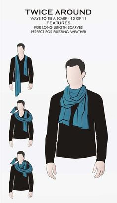 3 basic ways to wear a scarf. The Parisian knot, the 'reverse drape tuck,' and the 'four in hand' knots for tying a scarf around a man's neck. Ways To Wear A Scarf, How To Wear Scarves, Wearing Scarves, Tie Scarves, Scarves For Men, Neck Scarves, Scarf Knots, Tie Knots, Real Men Real Style