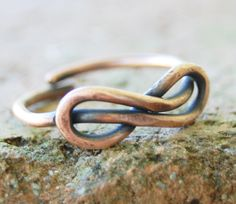 Infinity Knot Ring, Unisex Ring, Oxidized Copper, Wire Jewelry.