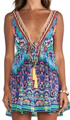Camilla Short V Neck Drawstring Dress