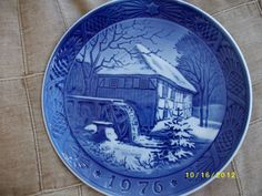 Royal Copenhagen Christmas Plate, 1976, Vibaek Yandmolle, Vibaek Water-Mill, HM, Danish Blue, Collectors Plate. $15.00, via Etsy.