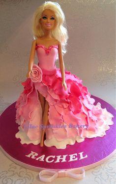 Catwalk Barbie Cake - Red Velvet with White Chocolate Buttercream Barbie Birthday Cake, Barbie Party, Birthday Cake Girls, Barbie Cake Designs, Apple Cake Pops, White Chocolate Buttercream, Dress Cake, Disney Cakes, Girl Cakes