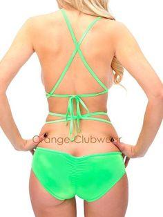 €16.15 Sexy Gogo Rave Neon Green Scrunch Back Bikini Bottoms Lace Up Around Shorts (one size)