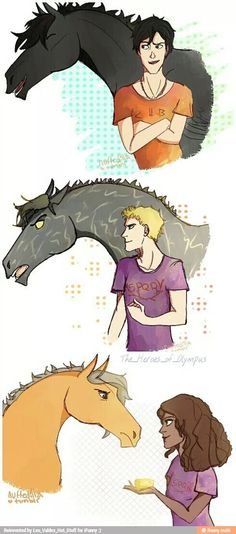 Percy Jackson with Blackjack, Jason Grace with Tempest, Hazel Levesque with Arion