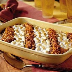 Our favorite way to enjoy sweet potato casserole? Topped with marshmallows, of course!