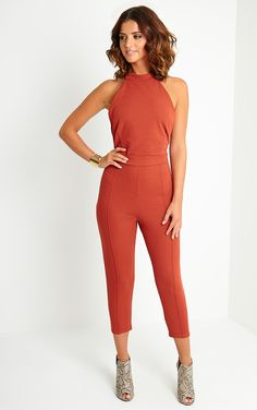Style up an on trend jumpsuit and dare to bare with backless in our exclusive Nicki Rust Backless Jumpsuit £25! #PrettyLittleThing #LucyMecklenburgh