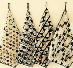 Geometric prints. Digital printed with added gold foils