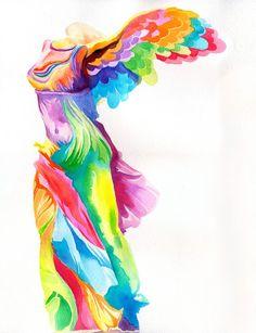 Nike de Samotracia impresión (escultura griega helenística como acuarela psicodélico max peter de neón del arco iris)