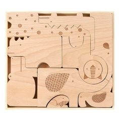 The aesthetic of modern design and the classic appeal of wooden toys come together in our Wooden Puzzle and Play sets; we love 'em so much we always keep one set open in the studio, and think your little ones will feel the same way! This artisanal puzzle appeals to children at varying levels of development. The heft and organic shape of the hand-cut wooden animals will appeal to small hands; laser etchings make each puzzle piece a distinctive character for imaginative play. Ready to br...