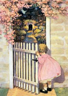 Peeking into the secret garden -- Illustrator Jessie Wilcox Smith Art And Illustration, Vintage Illustrations, Vintage Pictures, Vintage Images, Framed Pictures, Vintage Prints, Vintage Art, Vintage Signs, Jessie Willcox Smith