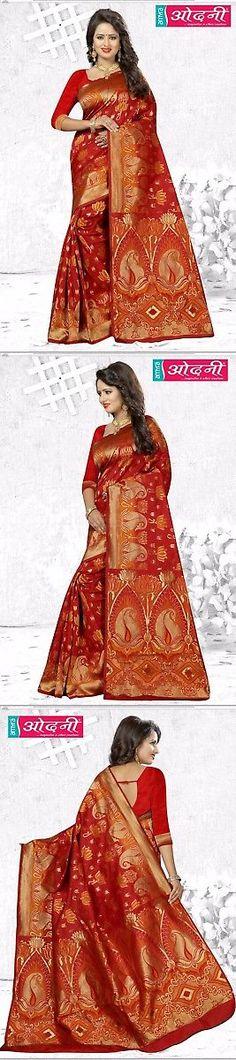 Sari Saree 155250: Orange Designer Bollywood Jacquard Border Sari Banarasi Silk Party Wear Saree -> BUY IT NOW ONLY: $62.95 on eBay!